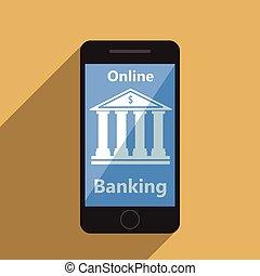 móvel, operação bancária, conceito, pagamento, online