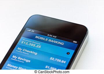 móvel, operação bancária, ligado, móvel, smartphone