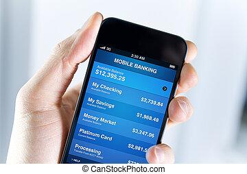 móvel, operação bancária, ligado, smartphone