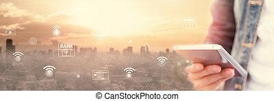 móvel, operação bancária, rede