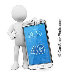móvel, pessoas., telefone, lte, 4g, branca, 3d