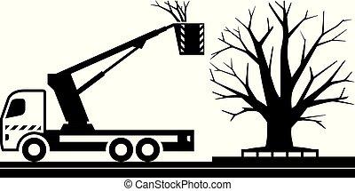 móvel, plataforma, corte, caminhão, árvores
