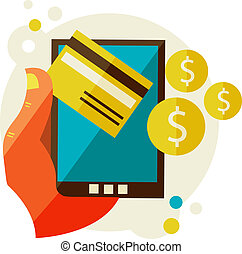 móvel, processando, pagamentos