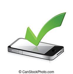 móvel, símbolo, marca, telefone, carrapato, ícone