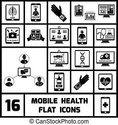 móvel, saúde, jogo, pretas, ícones