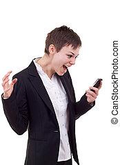 móvel, shouting, mulher