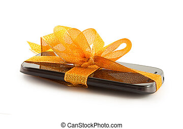 móvel, smartphone, com, em branco, screen., isolado, branco