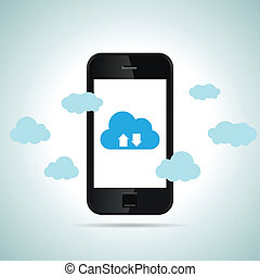 móvel, smartphone, nuvem
