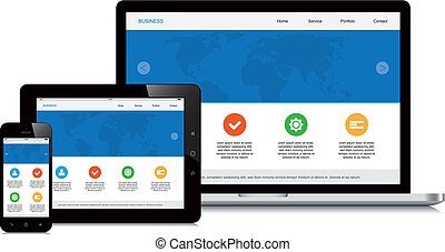 móvel, tabuleta, e, laptop, responsivo, webdesign, isolado,...