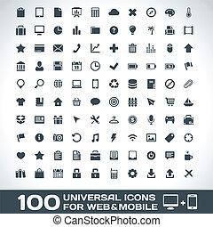 móvel, teia, universal, ícones