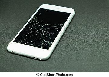 móvel, tela, foco, telefone, seletivo, rachado