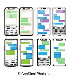 móvel, tela, messaging, jogo, vector., conversa, bot, bubbles., móvel, app, mensageiro, interface., comunicação, concept., smartphone, com, conversa, ligado, screen., texto, boxes., notificação, icons., ilustração