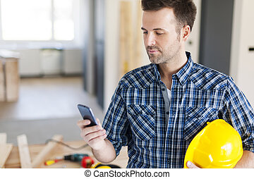 móvel, telefone, construção, trabalhador, contemporâneo
