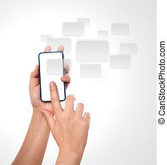 móvel, telefone, mão