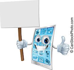 móvel, telefone, mascote, segurando, sinal