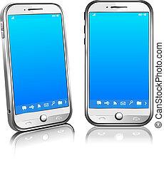 móvel, telefone pilha, branca, esperto, 3d