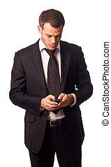 móvel, telefone., segurando, homem negócio