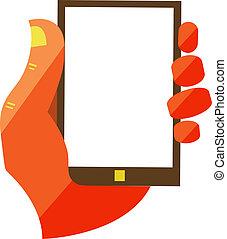 móvel, telefone,  touchscreen, segurando, mão