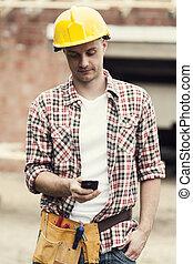 móvel, texting, trabalhador construção, telefone