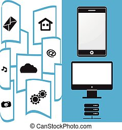 móvel, transferência, arquivo, telefone