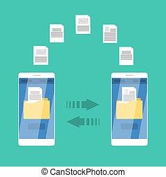 móvel, transferência, entre, arquivo, telefones