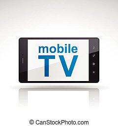 móvel, tv, palavras, ligado, telefone móvel