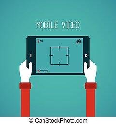 móvel, vídeo, vetorial, conceito, em, apartamento, estilo