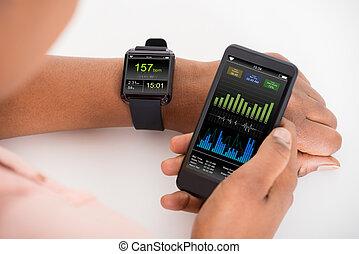 móvil, actuación, smartwatch, mano, tasa, latido del corazón