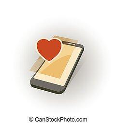 móvil, adminículo, con, corazón