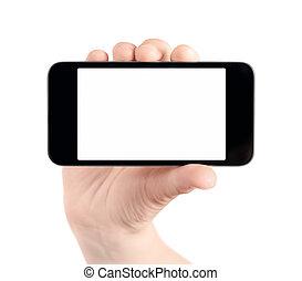 móvil, aislado, mano, teléfono, blanco, asimiento