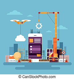 móvil, aplicación, cinche desarrollo, célula, elegante, teléfono, app, programación, concepto