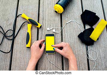 móvil, aplicación, deporte