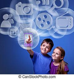 móvil, aplicación, nube
