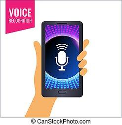 móvil, app, o, música, voz, sounds., reconocimiento
