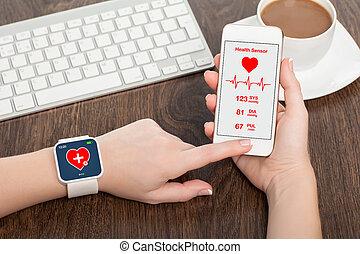 móvil, app, reloj, teléfono, salud, tacto, sensor, elegante