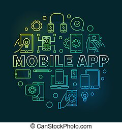 móvil, app, vector, redondo, moderno, contorno, ilustración