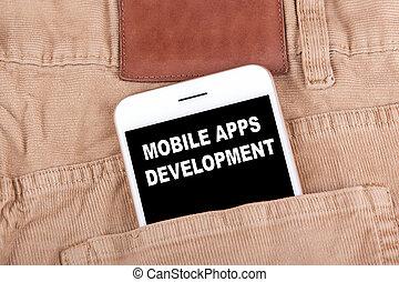 móvil, apps, development., smartphone, en, vaqueros, pocket., tecnología, empresa / negocio, plano de fondo