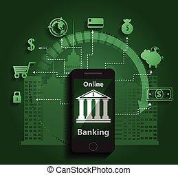 móvil, banca, concepto, pago, en línea