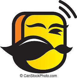 móvil, cabeza, logotipo