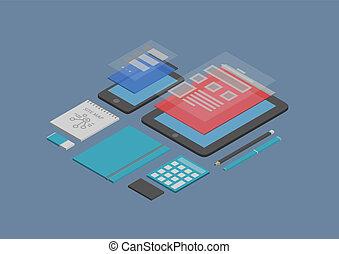 móvil, cinche desarrollo, diseño, ilustración