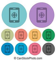 móvil, compás, color, más oscuro, plano, iconos