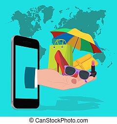 móvil, compras en línea, plano, diseño