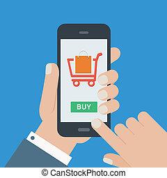 móvil, compras, pero, plano, diseño