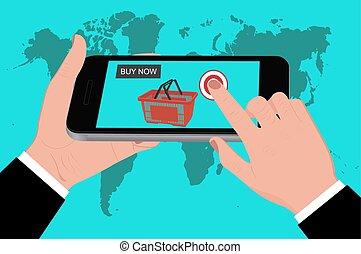 móvil, compras, plano, diseño