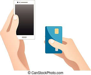 móvil, concept., pagos, en línea
