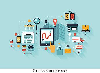 móvil, concepto, compras, ilustración