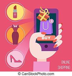 móvil, concepto, ir de compras en línea directa