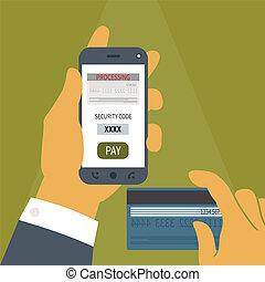 móvil, concepto, pago, vector, smartphone.
