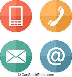 móvil, conjunto, iconos, sobre, -, botones, contacto, teléfono, correo