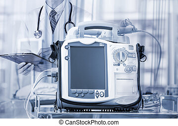 móvil, corazón, desfibrilador, unidad, -, emergencia, alta tecnología, equi